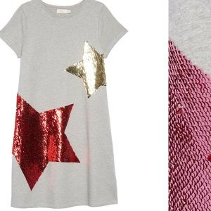 Mini Boden Shimmer Flip Sequin Star T-Shirt Dress